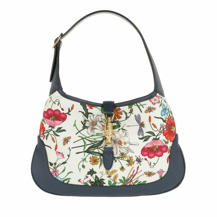 Handtasche, Gucci, Jackie Medium Flora Hobo Bag Blue