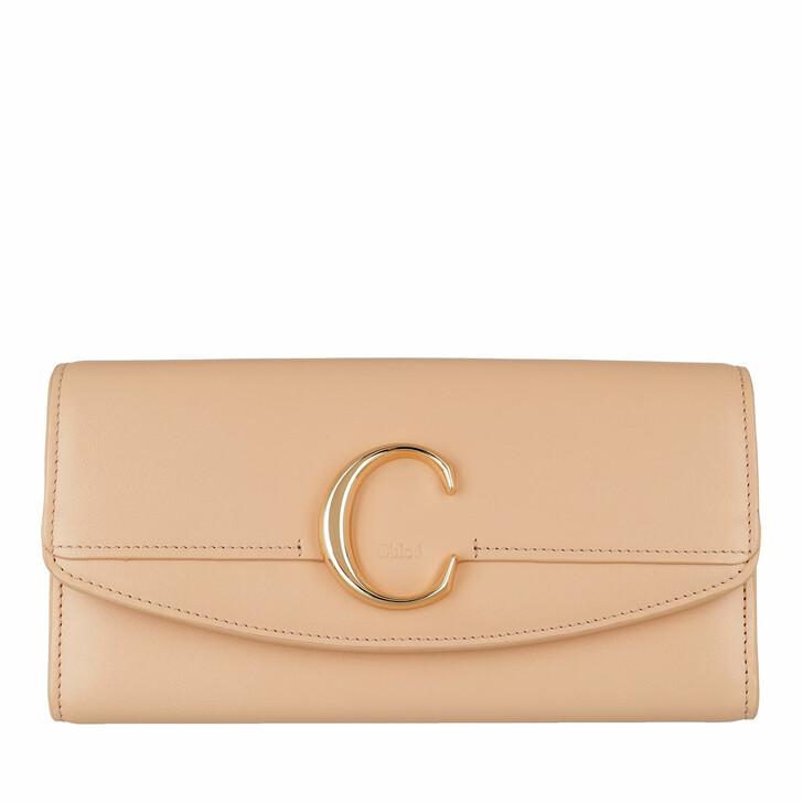 wallets, Chloé, C Continental Wallet Leather Sandy Beige
