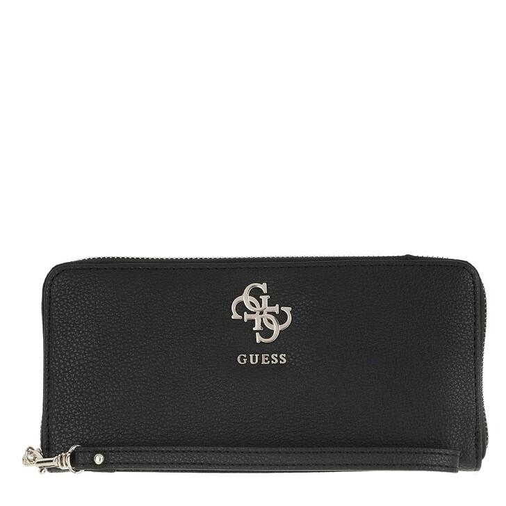 Geldbörse, Guess, Digital Wallet Large Zip Around Black