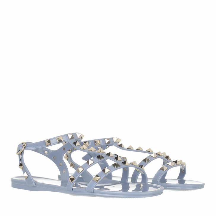 shoes, Valentino Garavani, Rockstud Flat Sandals Rubber Niagara Blue