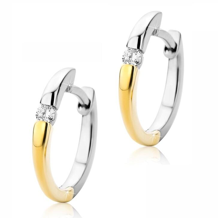 Ohrring, DIAMADA, Creole 0.07ct Diamond  14KT Bi Color Gold