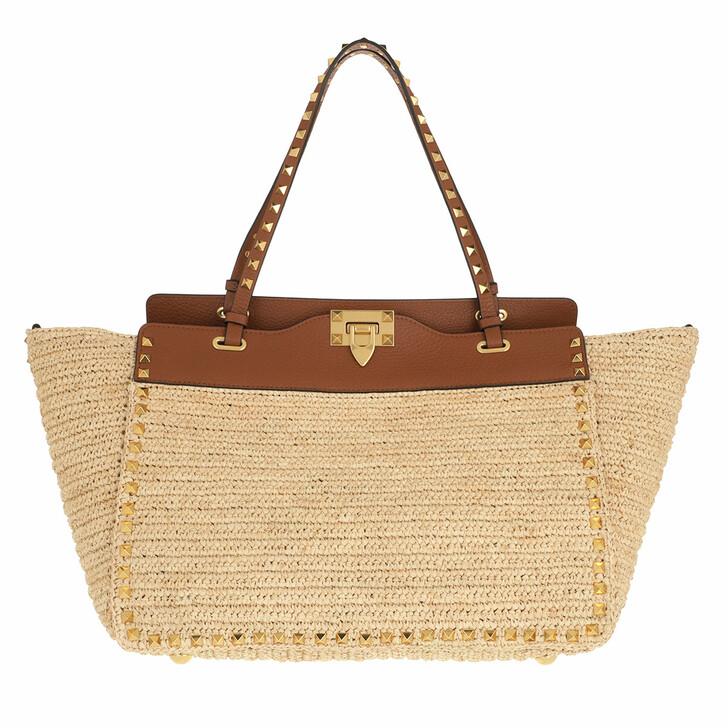 bags, Valentino Garavani, Medium Rockstud Tote Bag Straw Natural/Cognac