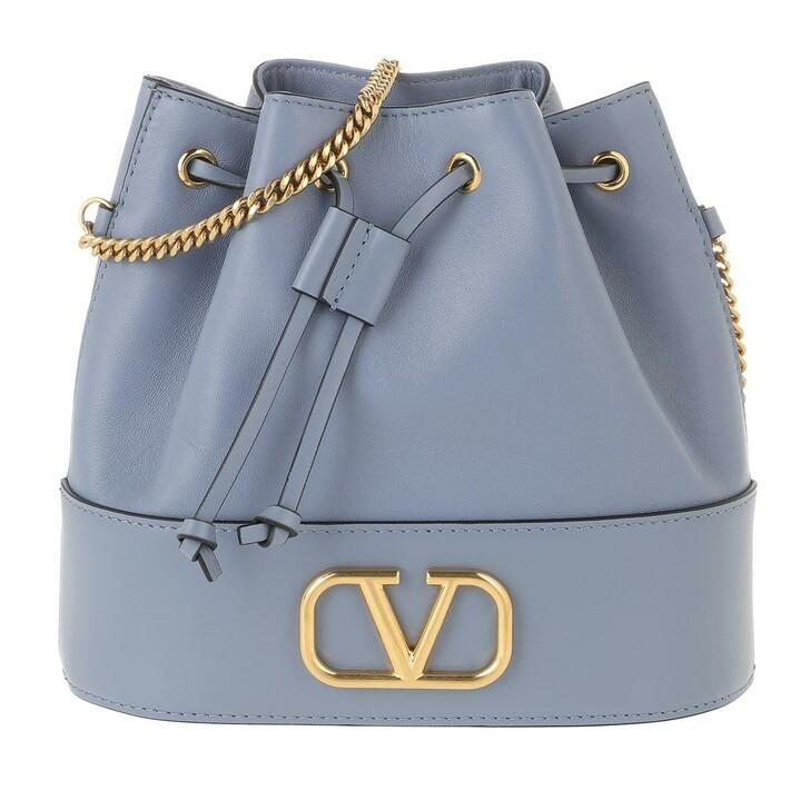 Handtasche, Valentino, V Logo Bucket Bag Leather Niagara
