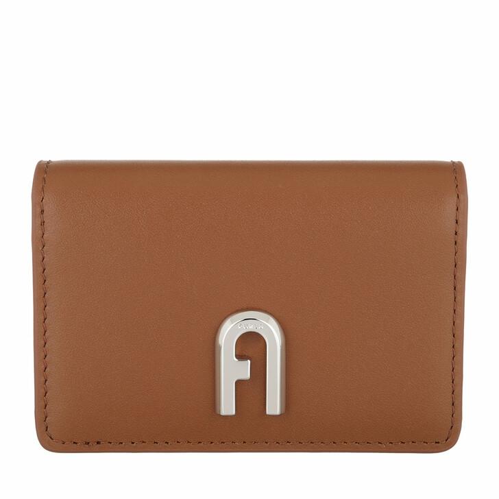 wallets, Furla, Furla Moon Business Card Case Slim - Vitello Roma Cognac H