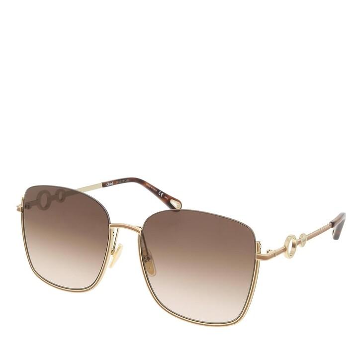 sunglasses, Chloé, CH0070SK-003 59 Sunglass Woman Metal Gold-Gold-Brown