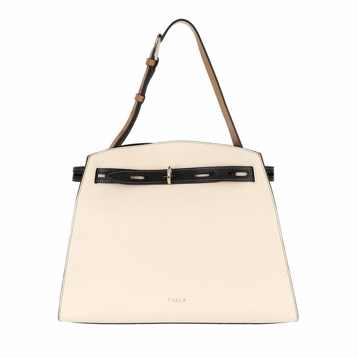 bags, Furla, Furla Margherita M Shoulder Bag - Vitello St.Eracl Pergamena+Nero+Miele