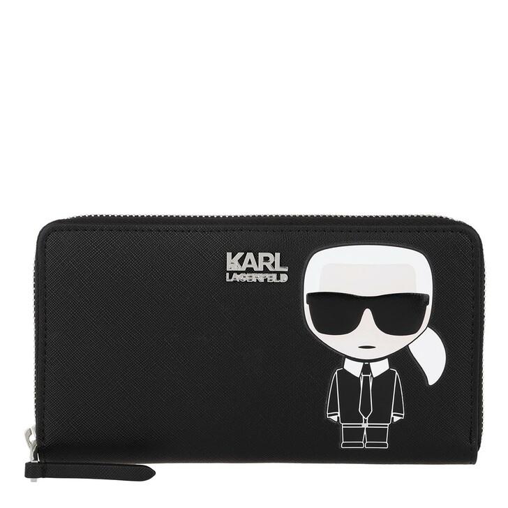 Geldbörse, Karl Lagerfeld, Ikonik Cont Zip Wallet Black