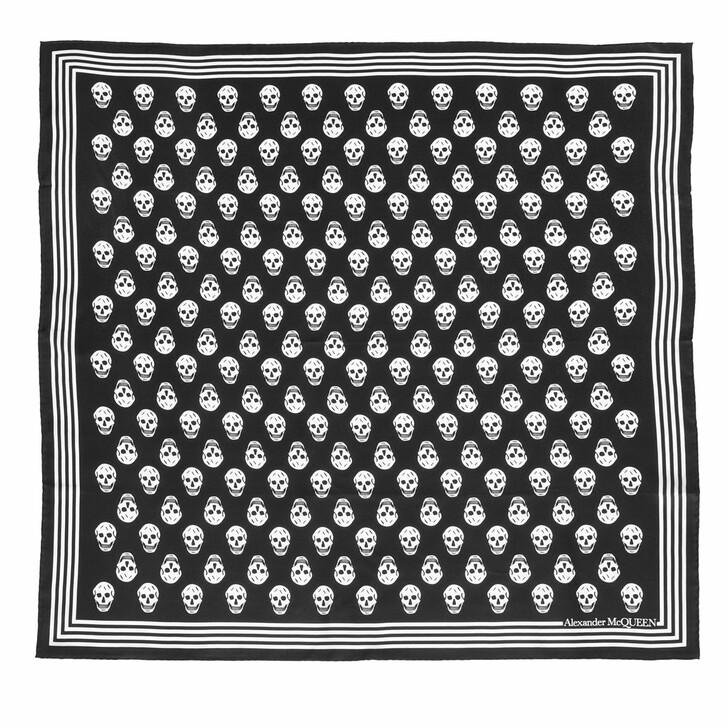 scarves, Alexander McQueen, Biker Scarf 90X90 Black/Ivory