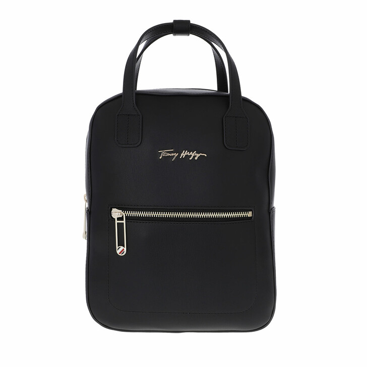 bags, Tommy Hilfiger, Iconic Tommy Signature Backpack Black