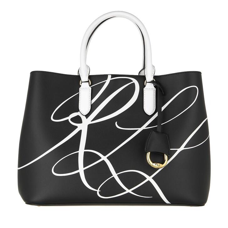 bags, Lauren Ralph Lauren, Marcy Satchel Large RLL Script Black/Snow White