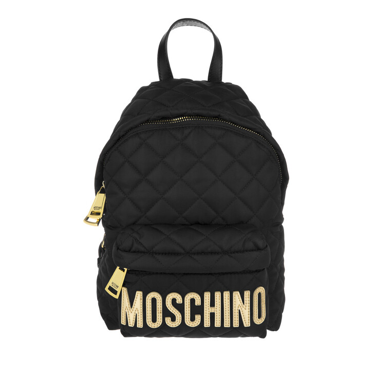 Reisetasche, Moschino, Quilted Nylon Backpack Small Black/Gold