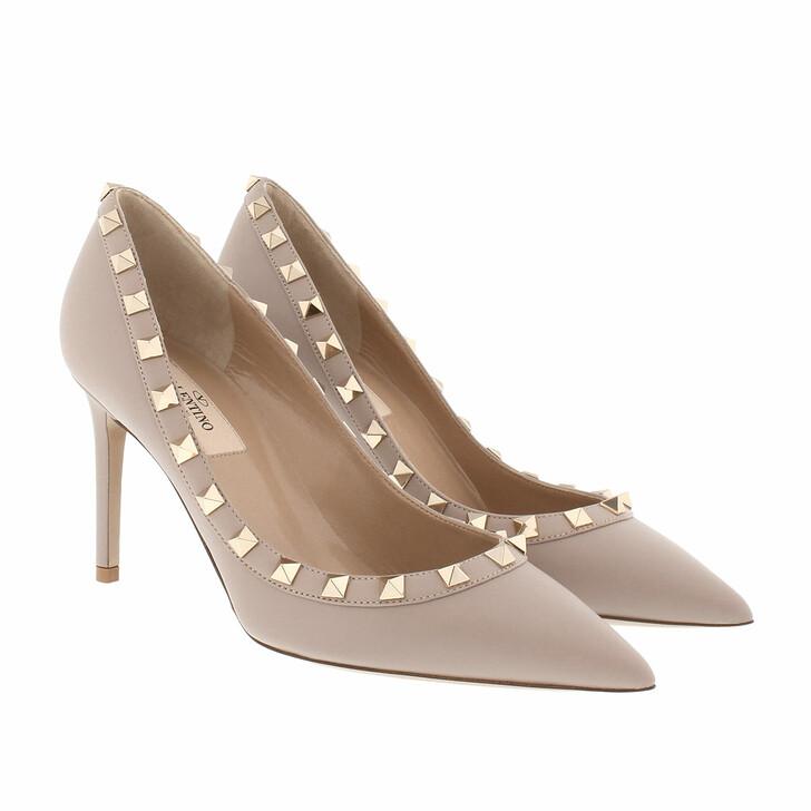 shoes, Valentino Garavani, Rockstud Leather Pumps Poudre