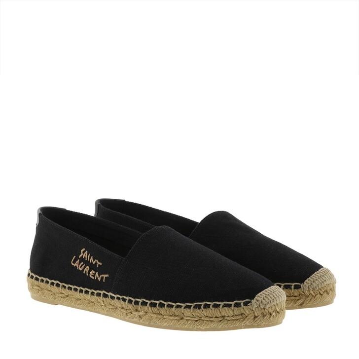 shoes, Saint Laurent, Embroidered Espadrilles Canvas Black