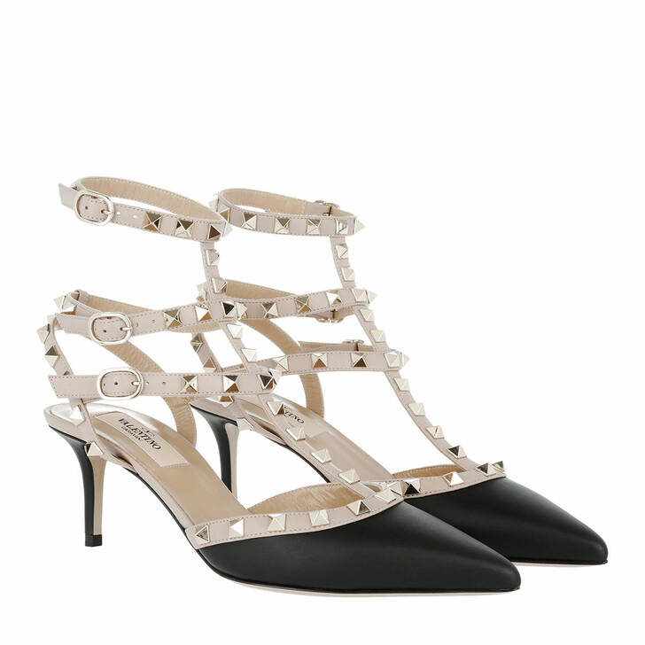 Schuh, Valentino Garavani, Rockstud Decollete Leather Ankle Strap Pumps Nero/Poudre