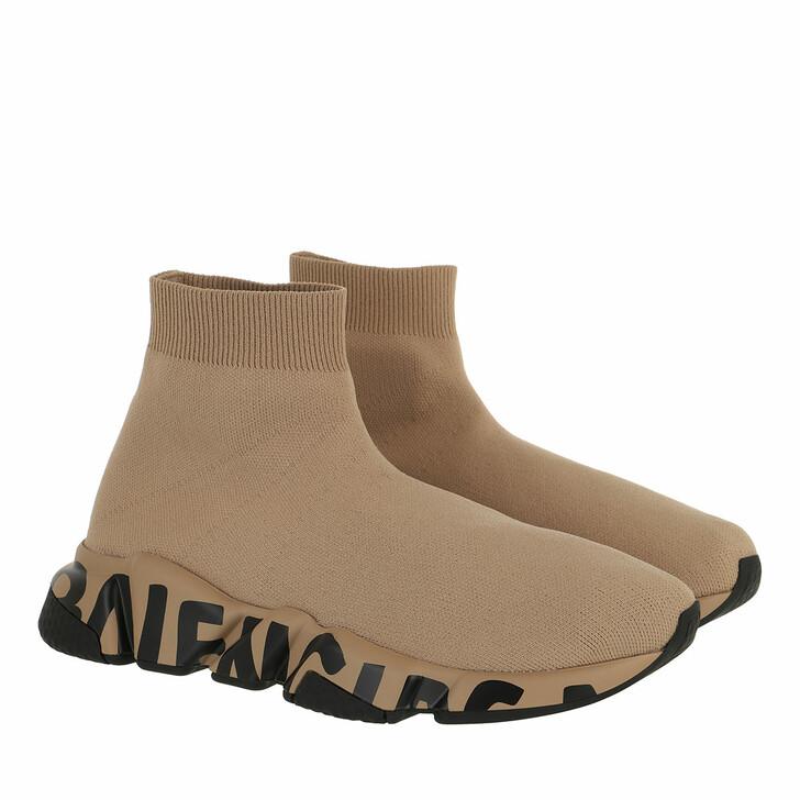 shoes, Balenciaga, Speed Logo Sneakers Graffiti Beige/Beige/Black