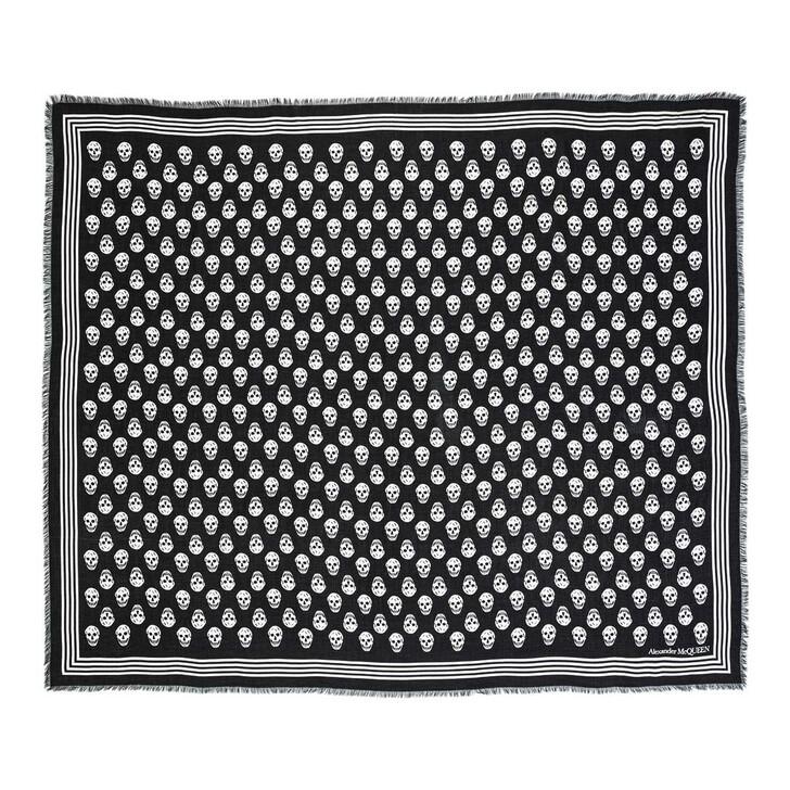 scarves, Alexander McQueen, Night Flower Scarf Black Ivory