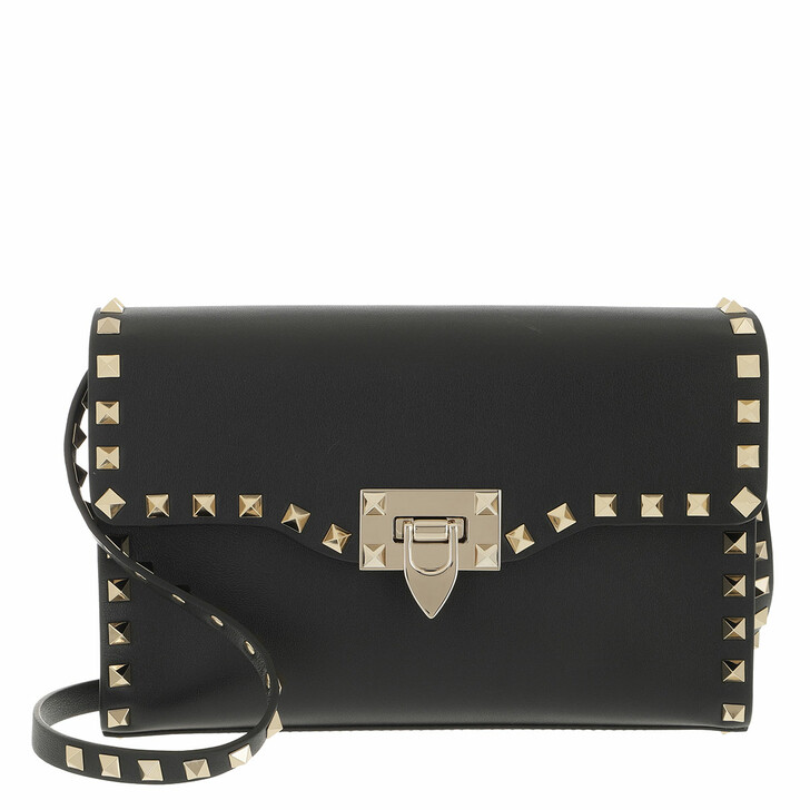 bags, Valentino Garavani, Rockstud Crossbody Bag Small Leather Black Black