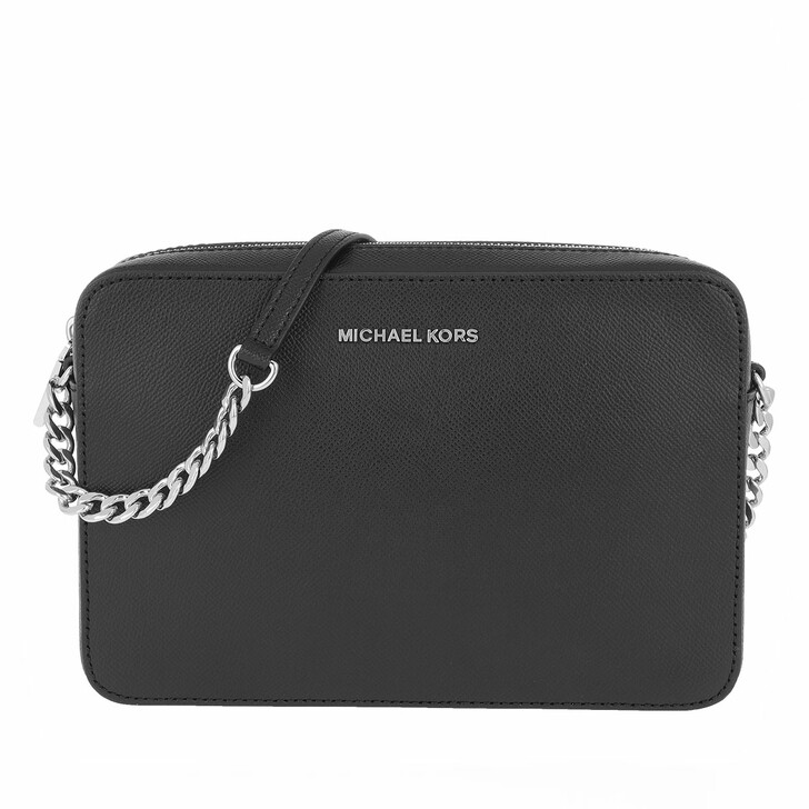 Handtasche, MICHAEL Michael Kors, Jet Set Large Saffiano Leather Crossbody Bag Black