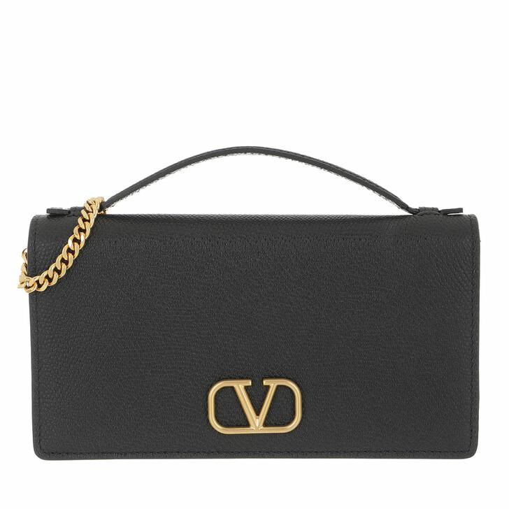 bags, Valentino Garavani, Wallet On Chain Calfskin Black