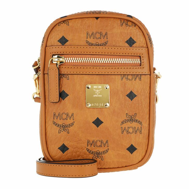 bags, MCM, Visetos Original Crossbody Mini Cognac
