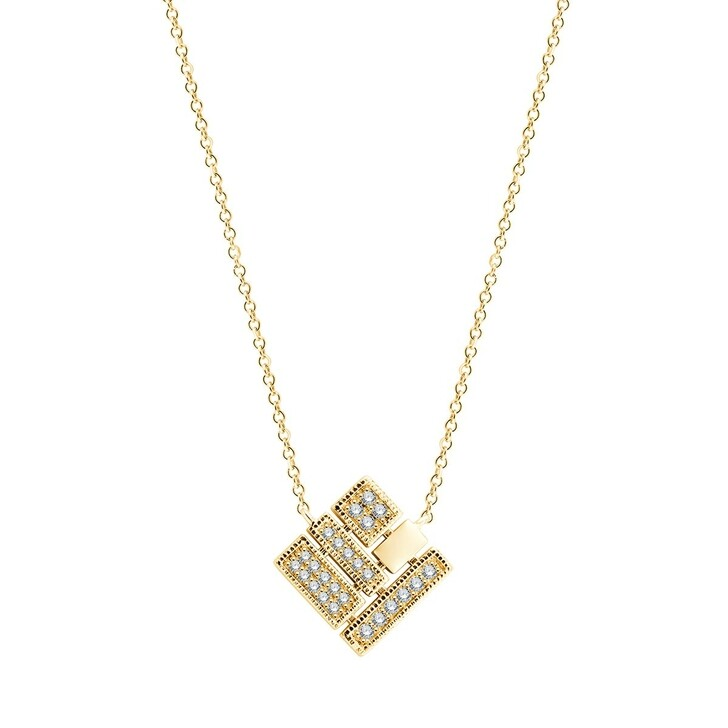 necklaces, Pukka Berlin, Square Diamond Necklace Yellow Gold