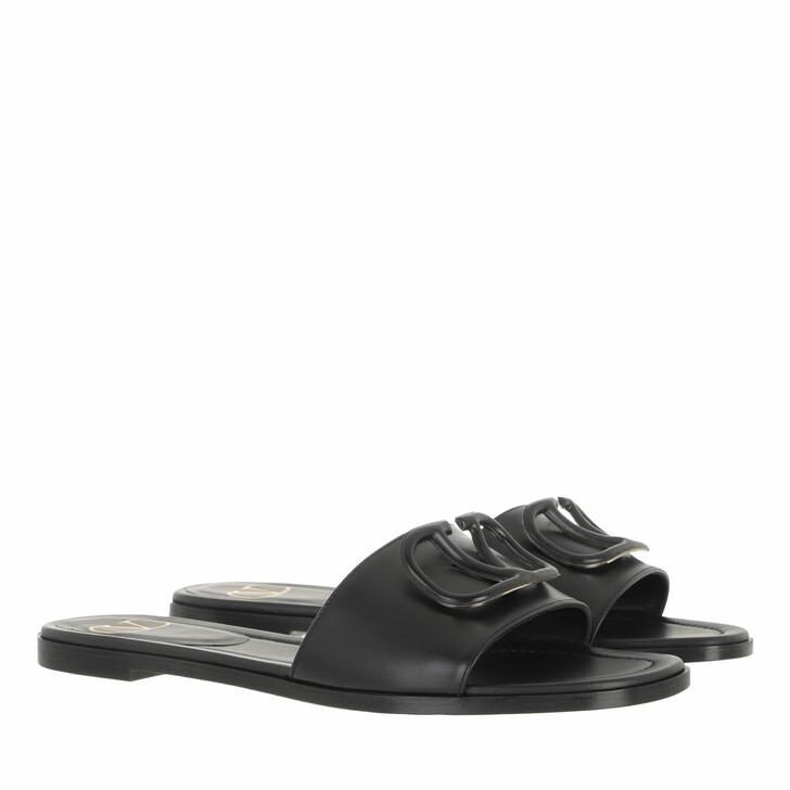 shoes, Valentino Garavani, V Logo Signature Flat Sandals Black