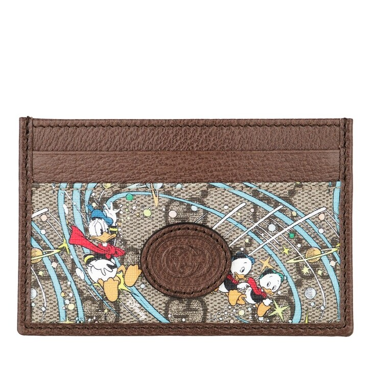 Geldbörse, Gucci, Gucci X Donald Duck Card Case Leather Beige Ebony