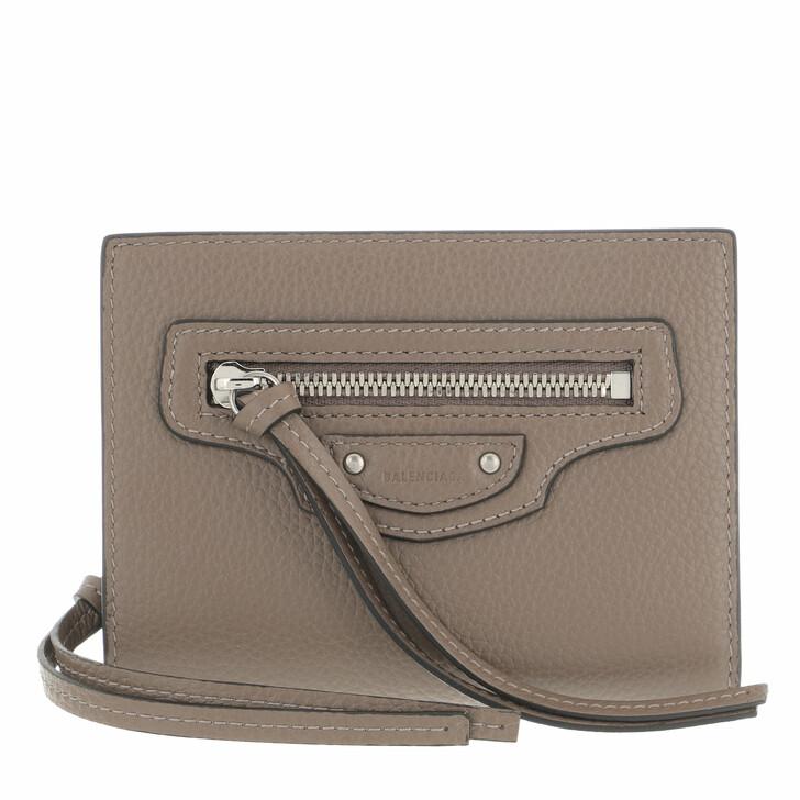 wallets, Balenciaga, Neo Classic Wallet Leather Mink Grey