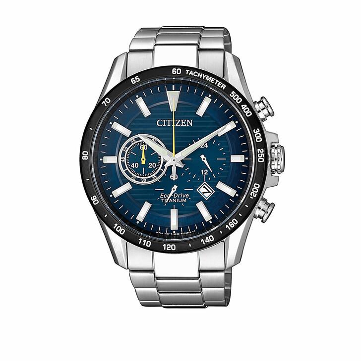 watches, Citizen, Titanium Wristwatch Silver Blue