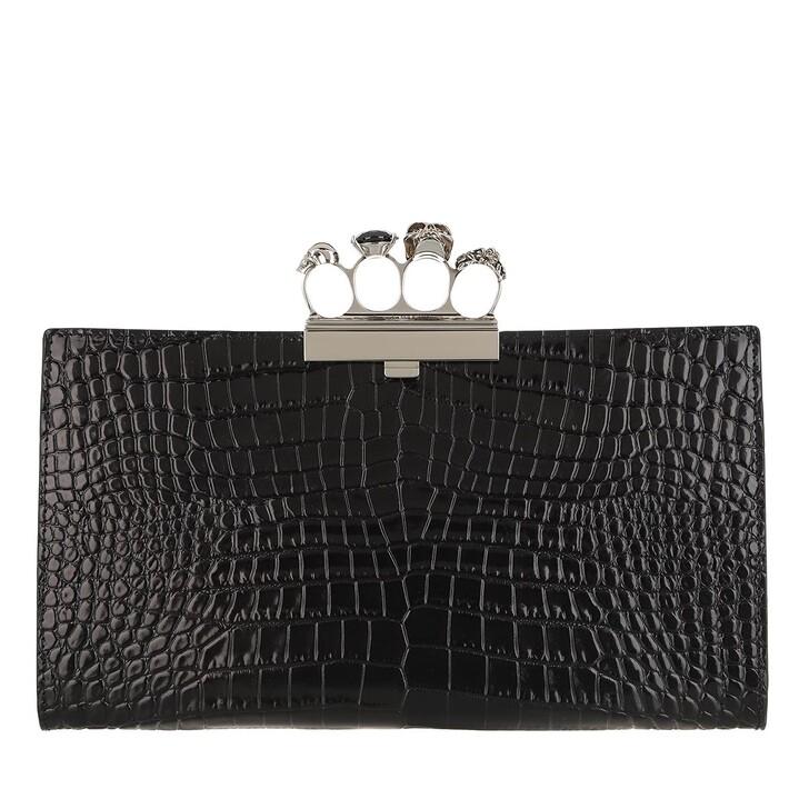Handtasche, Alexander McQueen, Clutch Leather Black