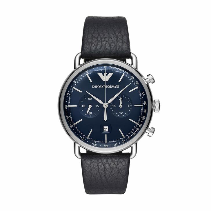 Uhr, Emporio Armani, Mens Dress Watch Silver/Blue