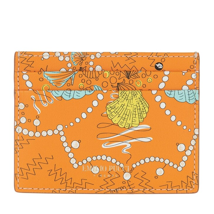 wallets, Emilio Pucci, Credit Card Holder Conchiglie Baby Arancio/Turchese