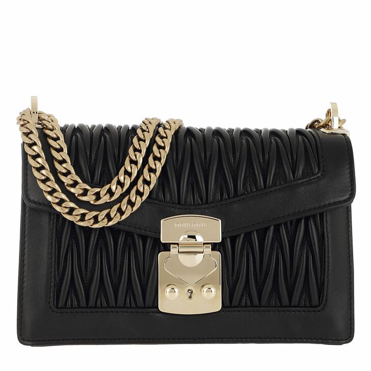 bags, Miu Miu, Matelassé Push Lock Crossbody Bag Black
