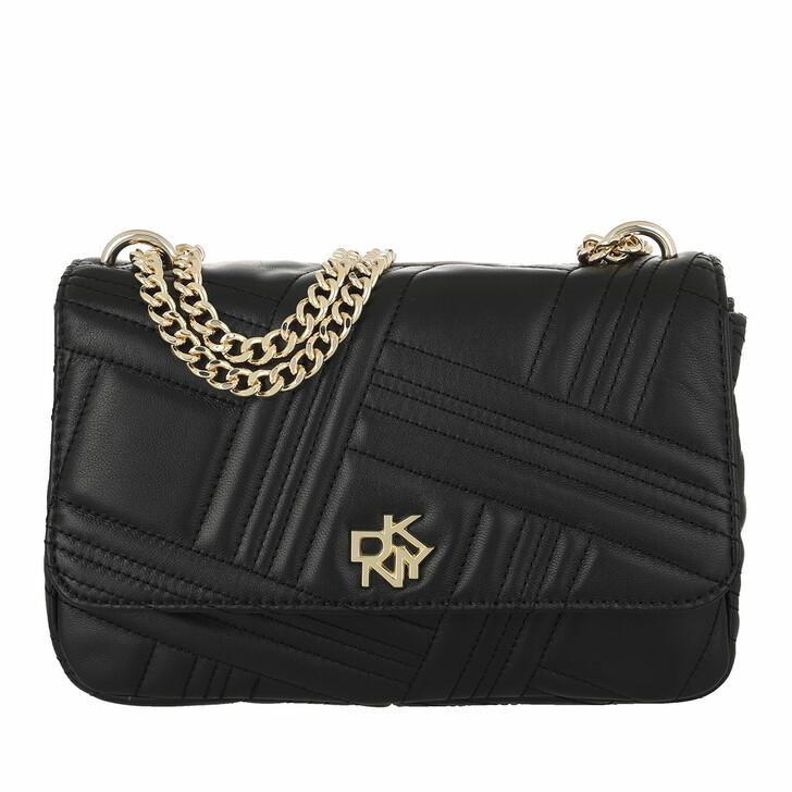 Handtasche, DKNY, Alice Medium Flap Should Blk/Gold