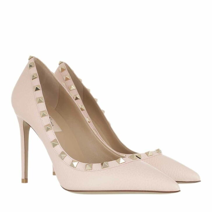 shoes, Valentino Garavani, Rockstud Pump Grained Leather Rose Quartz