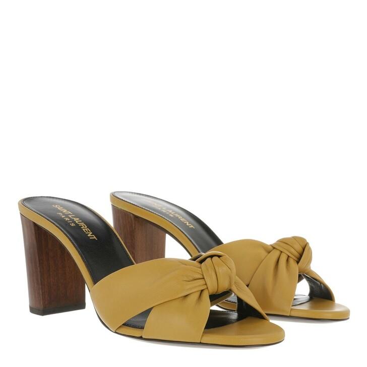 Schuh, Saint Laurent, Bianca Heel Mules Safari Khaki