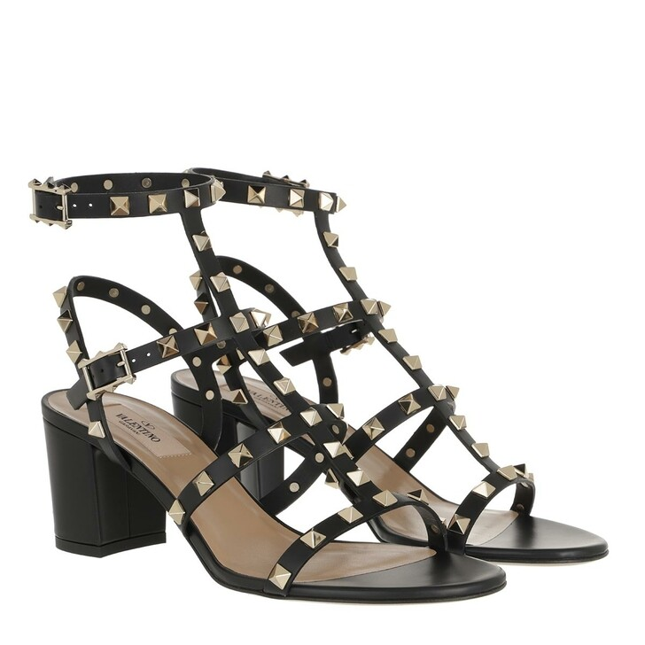 Schuh, Valentino Garavani, Rockstud Sandals Leather Nero