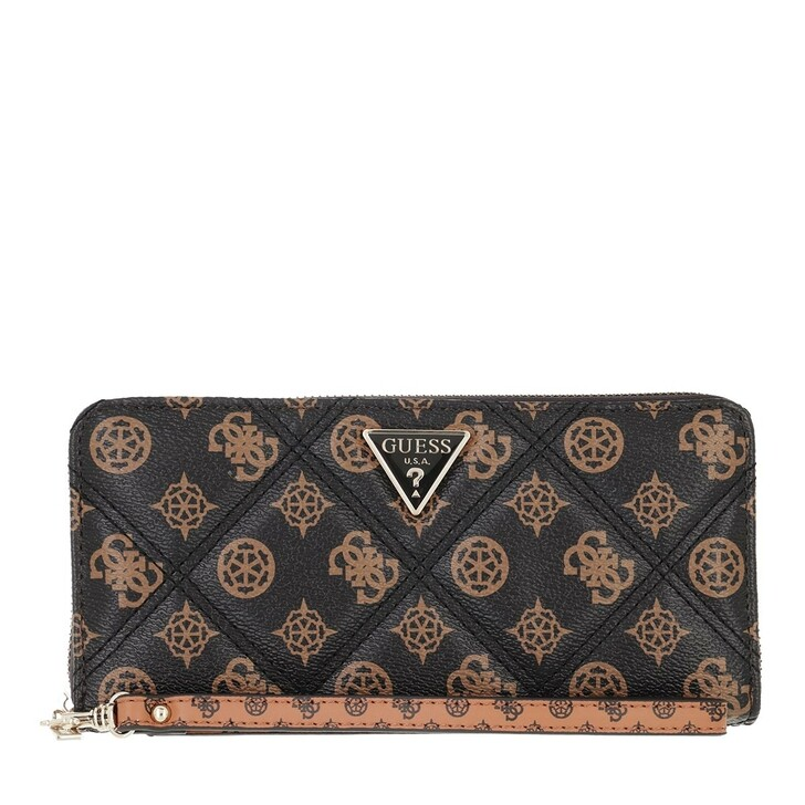 wallets, Guess, Cessily Slg Large Zip Around Mocha Multi