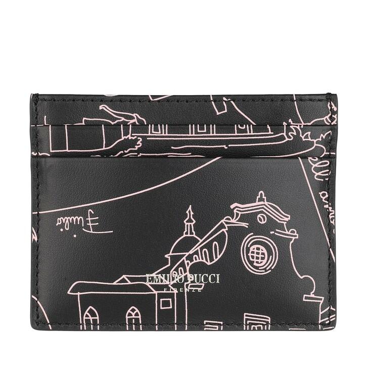 wallets, Emilio Pucci, Credit Card Holder Scorci Fiorent Nero/Rosa