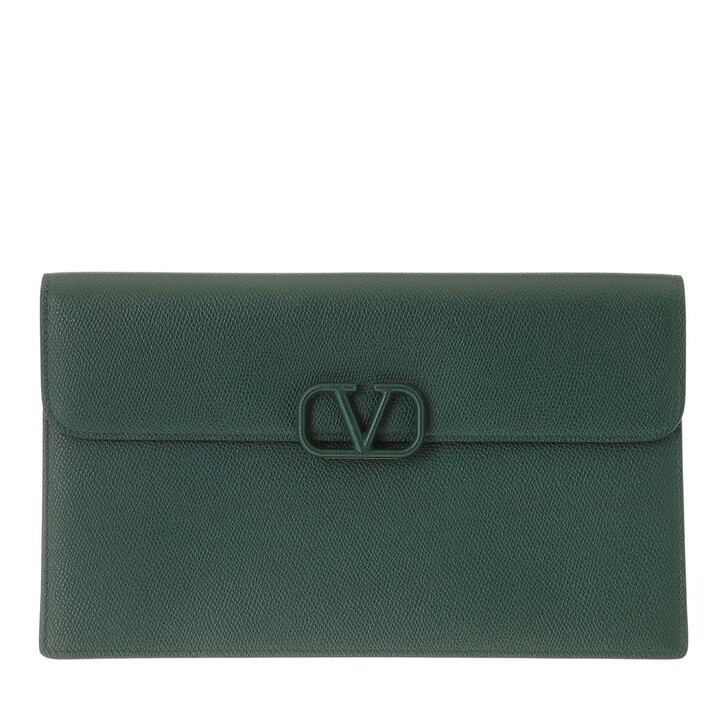 Handtasche, Valentino, Pouch Leather English Green