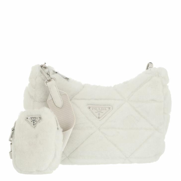 bags, Prada, Shearling Shoulder Bag White