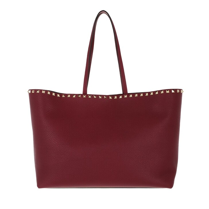 Handtasche, Valentino Garavani, Rockstud Studded Shopping Bag Leather Burgundy