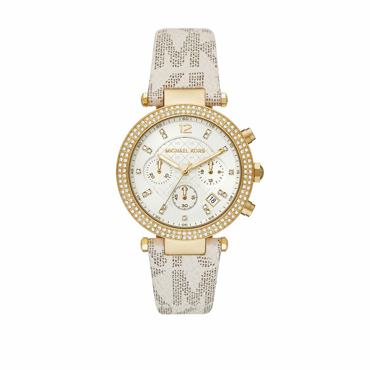 Uhr, Michael Kors, Ladies Parker Chronograph PVC Watch Vanilla