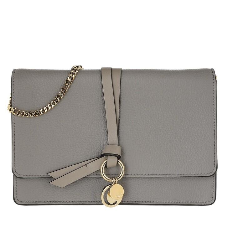 bags, Chloé, Alphabet Clutch Leather Cashmere Grey