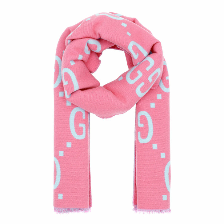 Schal, Gucci, GG Jacquard Scarf Wool Silk Pink
