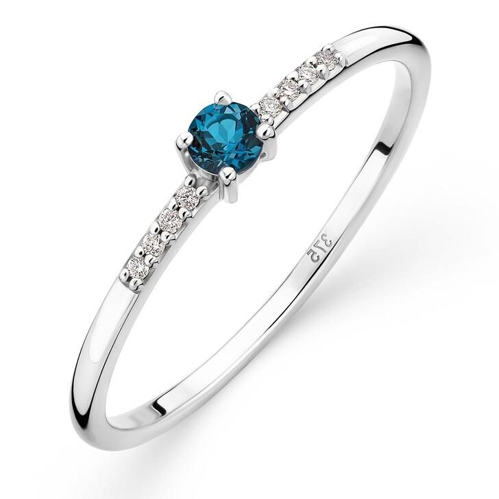 rings, DIAMADA, 9K Ring with Diamond and Topaz White Gold