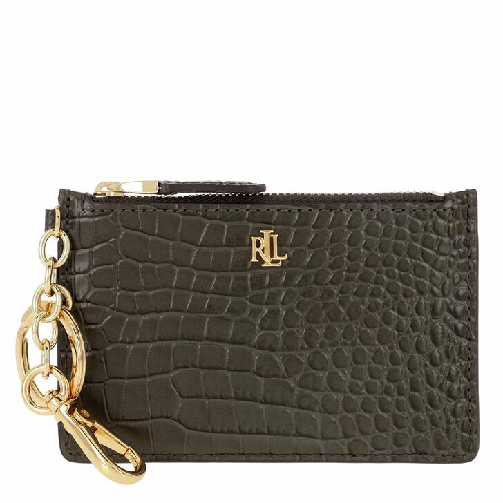 wallets, Lauren Ralph Lauren, Medium Zip Card Case Deep Olive