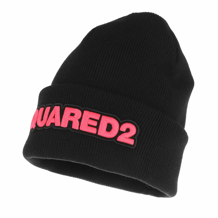 hats, Dsquared2, Embroidered Logo Beanie Black/Pink