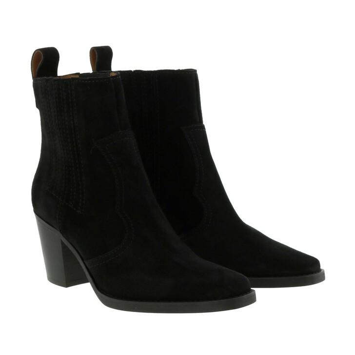 Schuh, GANNI, Western Boot Suede Black