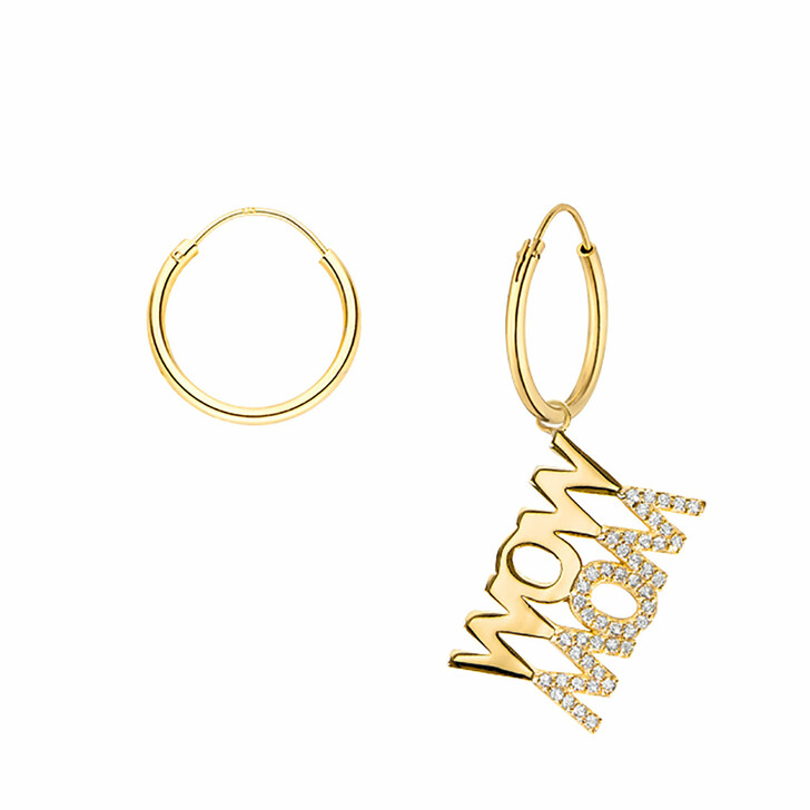 Ohrring, Leaf, Hoops Wow Mom Yellow Gold
